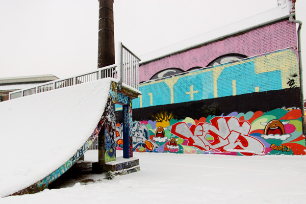 Urban skatepark in snow